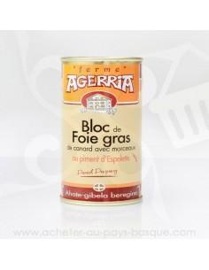 Bloc de Foie Gras de canard avec morceaux au piment d'Espelette - Bipertegia producteur Basque - en vente