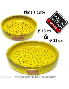 Acheter cet ensemble 2 plats à tarte à trous en céramique jaune diamètre 18 et 28 cm.