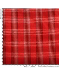 Tissus velours carreaux rouge casal - Tissu ameublement - recouvrement meuble - Dock Negresse Biarritz