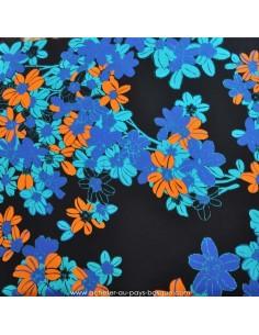 Tissu Haute Couture Ungaro 100 % Soie - magnifique crêpe de Chine fleur orange et bleu Habillement Docks Biarritz en vente