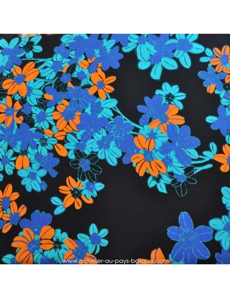 Soie UNGARO crêpe de Chine bleu orange