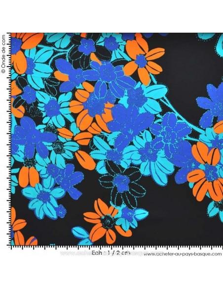 Tissu Haute Couture Ungaro 100 % Soie - magnifique crêpe de Chine fleur orange et bleu Habillement Docks Biarritz  avec mesure