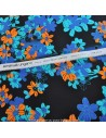 Tissu Italien Haute Couture Ungaro 100 % Soie - magnifique crêpe de Chine fleur orange et bleu Habillement Docks Biarritz