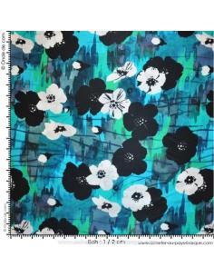 Tissu Haute Couture Ungaro 100 % Soie Fleurs ivoire - magnifique crêpe de Chine - Habillement Docks Negresse Biarritz