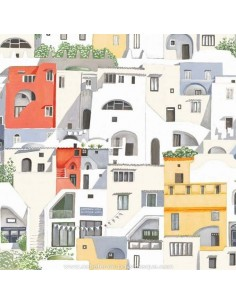 THEVENON ETE 2018 : POSITANO jaune et orange. Voyage village Italien façades colorées tissu Ameublement - vente en ligne