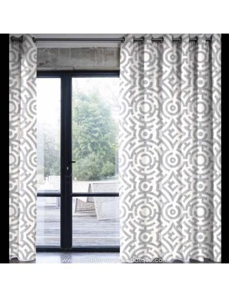Labyrinthe Gris : Thevenon effet Graphique : jardin parfait pour se perdre : rideaux Tissus Ameublement - vente en ligne