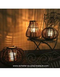 Photophore lanterne boule ou poire en situation - Bambou et verre - Pas Sage et des rêves Biarritz - boutique décoration