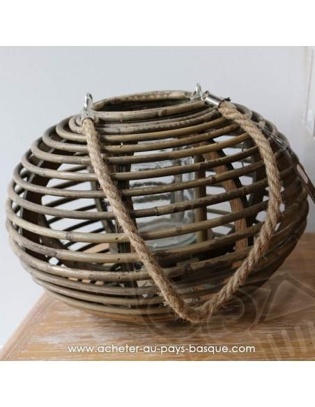 Photophore lanterne boule ronde - Bambou et verre - Pas Sage et des rêves Biarritz - boutique décoration - vente en ligne