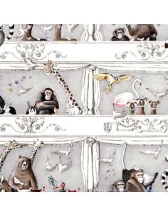 Animaux Tous au théâtre gris Tissus Ameublement Thevenon - achat - vente en ligne