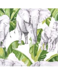 """L'éléphant """"ivoire vert mousse"""" tissu Thevenon - achat - vente en ligne"""
