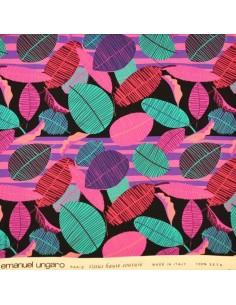 Tissu Haute Couture Ungaro 100 % Soie feuilles colorées Docks Biarritz sur fond noir fushia - Tissus Habillement Docks Biarritz