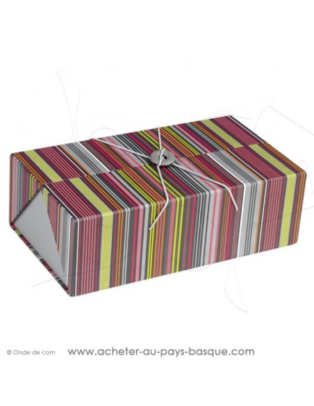 Composez coffret cadeau gourmand déco rectangle rayures basques multicolores carton vide, Idéal composition