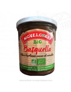 Basquella pâte à tartiner Bio sans huile de Palme choco praline-producteur Basque-conserve produit epicerie sucrée miguel gorry