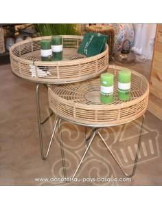 Table basse ronde -  bois bambou - Pas Sage et des rêves Biarritz - boutique décoration