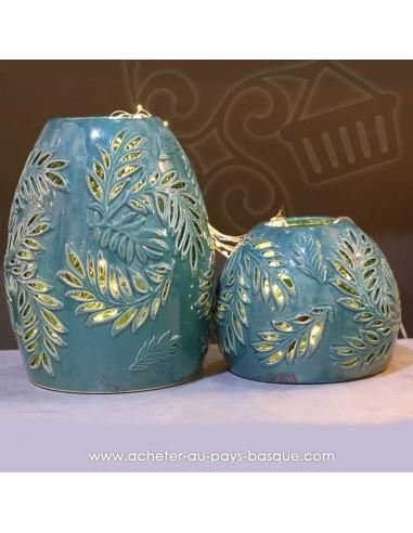 Photophores faïence bleu turquoise ajourés, style hollandais - Pas Sage et des rêves Biarritz - boutique décoration