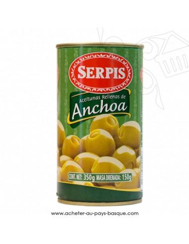 Olives vertes anchois serpis - olive espagnole anchoa - apéritif tapas salades
