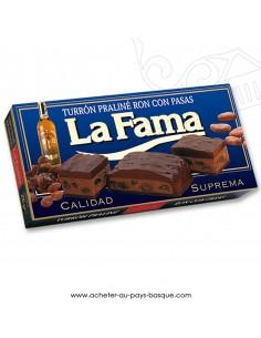 Turron LA FAMA rhum raisin nougat mou - epicerie confiserie espagnole - noel - produit espagnol