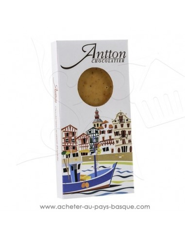 Tablette Chocolat Basque blanc piment d'Espelette ! vente en ligne Antton chocolatier du village