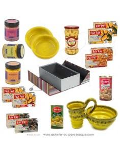Acheter coffret L'olive et son noyau, les cassolettes, tapas et houmous se retrouvent à l'apéro vente en ligne cadeaux basques