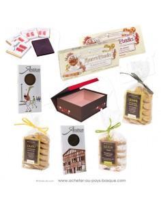 Offrez ce coffret douceurs : Du chocolat Basque au piment d'Espelette, du touron Espagnol et des biscuits