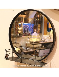 Miroir noir métal à tablette rond - Pas Sage Biarritz - boutique décoration