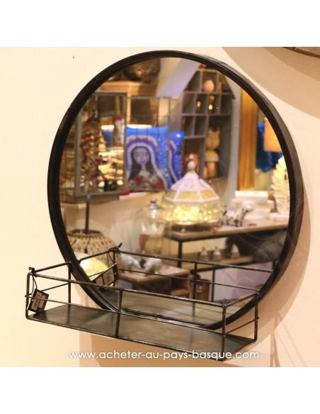 Miroir rond noir métal à tablette