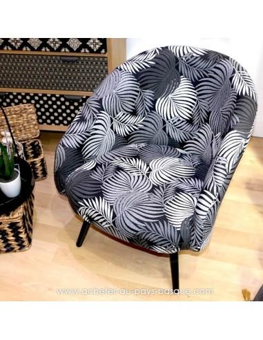 Fauteuil club vintage imprimé feuille noir et blanc jacquard - Pas Sage et des rêves Biarritz - boutique décoration