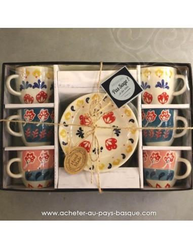 Joli Coffret 6 tasses expresso avec sous tasse peintes à la main... - Pas Sage et des rêves Biarritz - boutique décoration