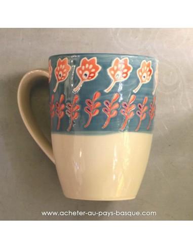 Mug bleu peints main vaisselles - déco Pas Sage et des rêves Biarritz - boutique décoration