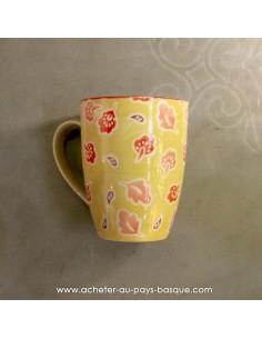 Mug jaune peints main vaisselles - déco Pas Sage et des rêves Biarritz - boutique décoration