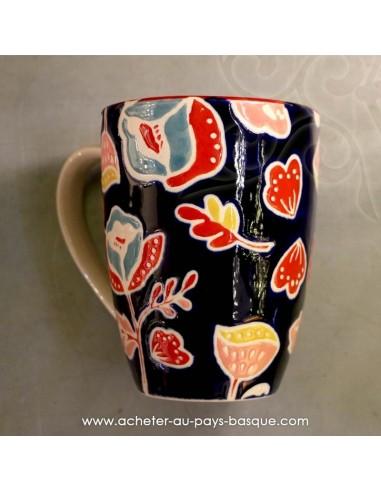 Mug noir peints main vaisselles - déco Pas Sage et des rêves Biarritz - boutique décoration