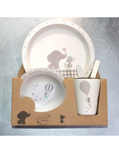 """Set repas en bambou pour enfant """"souris éléphant"""" Pas Sage et des rêves Biarritz - boutique décoration"""