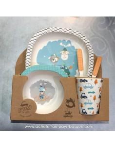 """Set repas en bambou pour enfant """"daim fleurs """" Pas Sage et des rêves Biarritz - boutique décoration"""