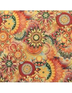 Tissu Ameublement  jacquard Soleils Rosaces style Desigual : coussins, double-rideaux restauration de fauteuil - Docks Biarritz