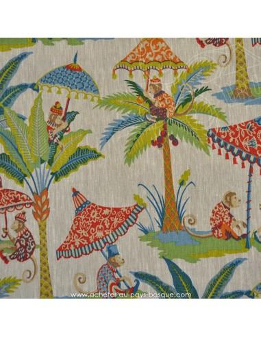 Tissu Ameublement lin - les Singes : coussins, rideaux, stores, art du lit et de la table - Docks Biarritz