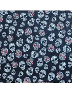 Tissu simili cuir cranes-tetes de morts-skull-calaveras  - Ameublement recouvrement  - Tissus des Docks de la Negresse Biarritz
