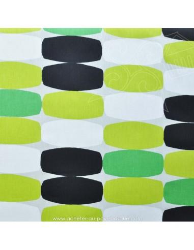Géométrie 70's tissu jacquard : coussins, double-rideaux restauration de fauteuil - Docks Biarritz