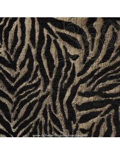 Tissu Ameublement thevenon velours jacquard noir et argent tigré : coussins, double-rideaux restauration de fauteuil - vente en