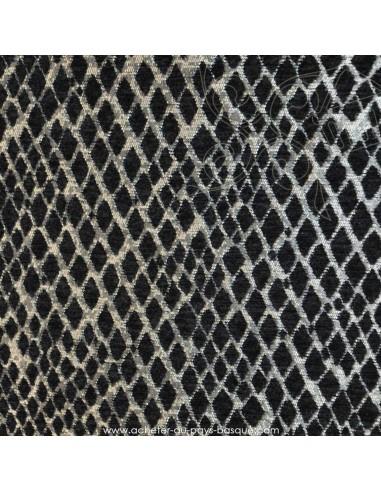 Tissu Ameublement thevenon velours jacquard noir et argent serpent- Tissus des Docks de la Negresse - Biarritz