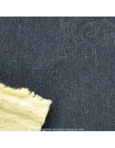 Tissu  Jean bi-matière coton et fausse fourrure- tissu habillement - vetement couturiere - Dock Negresse Biarritz