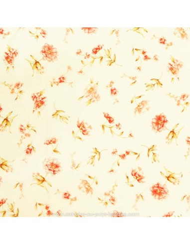 Coton imprimé rose et beige motif floral- tissu habillement - vetement couturiere - Dock Negresse Biarritz