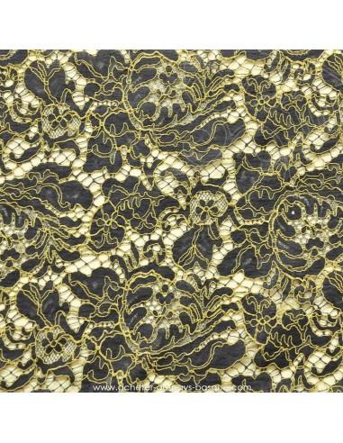 Dentelle coton marine ornée fil beige - tissu habillement - vetement couturiere robe mariée - Dock Negresse Biarritz