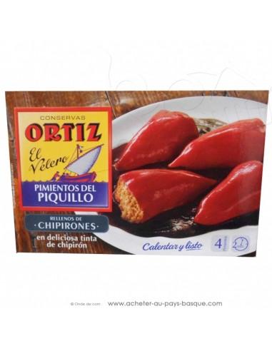conserve Ortiz Piquillos calamars à l'encre - plat conserve espagnole - epicerie produits espagnols - chipirons