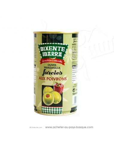 Olives vertes manzanilla espagnoles farcies aux poivrons Bixente Ibarra - olive espagnole pimientos - apéritif tapas salades