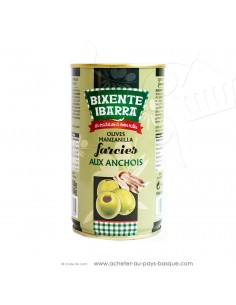 Olives vertes manzanilla espagnoles farcies aux anchois Bixente Ibarra - olive espagnole  - apéritif tapas salades