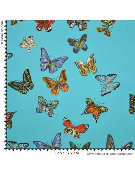 Vol de papillons Turquoise - Collection Nathalie Lete - Tissus Ameublement - Tissus des Docks de la Negresse - Biarritz