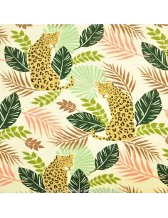 Jersey beige rosé imprimé feuillage et léopard -Tissu habillement vente en ligne - vetement couturiere - Dock Biarritz