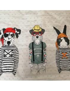 Panneau Coton Greta portraits animaux fond écru -Tissu habillement vente en ligne - vetement couturiere - Docks Biarritz
