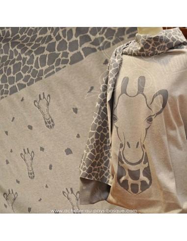 Panneau jersey coton imprimé girafe grise fond beige -Tissu habillement vente en ligne - vetement couturiere - Dock Biarritz