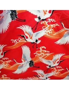 Satin de coton rouge motif grues et vagues oranges -Tissu habillement vente en ligne - vetement couturiere - Dock Biarritz
